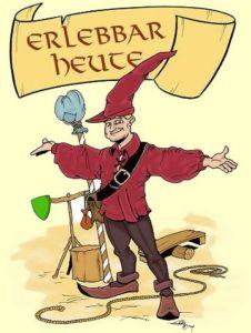 Karikatur, Ich als gemaltes Bild, mit dem Schriftzug Erlebbar-Heute und rotem Hut